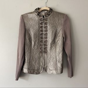 Peter Nygard Collection Silver Leather Jacket - S